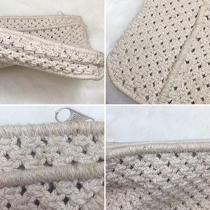 Vintage Bags - Vintage 80's macrame clutch with beads